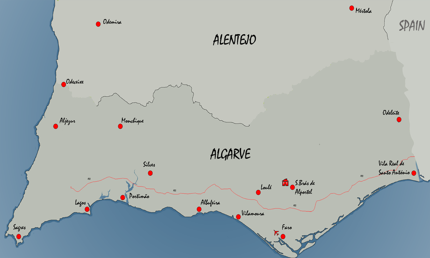 Mapa do Alentejo e Algarve